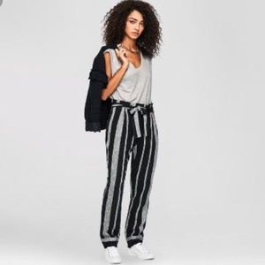 Who What Wear Paperbag Linen Striped Pants
